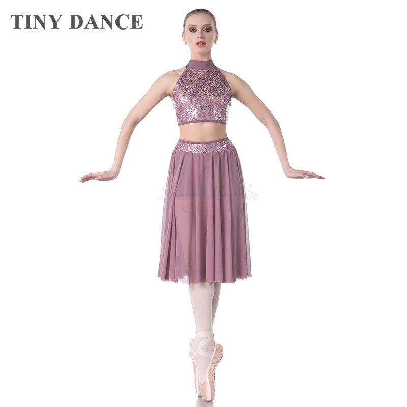 Revolution Dance Adult Purple Dance Dress w Tulle Underneath Lace Sequins Waist