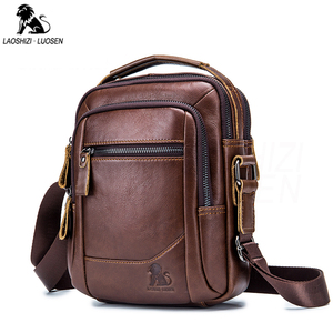 Image 1 - 2019 Men Tote Bags Genuine Leather New Fashion Man Leather Messenger Bag Solid Cross Body Bags Shoulder Business Bags For Men