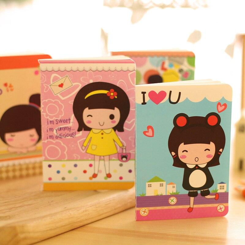 4pcs/lot 12*8.5cm Korean Stationery Cute Girl Notepad Mini Notebook Student Elegant Student Gift Gift