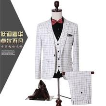 2017 new men's large yard young Korean Slim suit suit three-piece wedding banquet