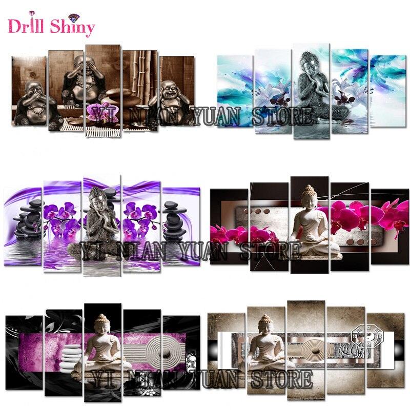 5D Diy Diamante ricamo Buddha pittura croce di diamanti stitch pieno piazza Mosaico pittura trittico Immagini strass MF22