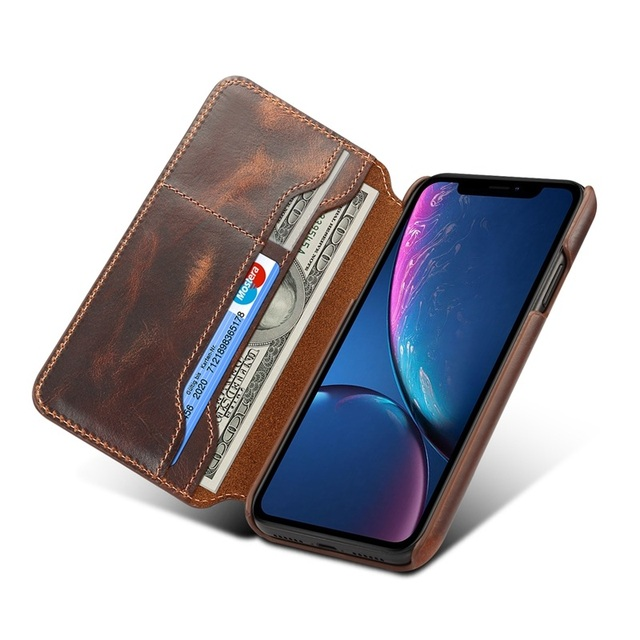 sports shoes 8a682 213eb US $17.83 15% OFF|Solque Genuine Leather Flip Wallet Case For iPhone XR  Cell Phone Luxury Retro Vintage Ultra Thin Slim Card Slot Book Cover  Case-in ...