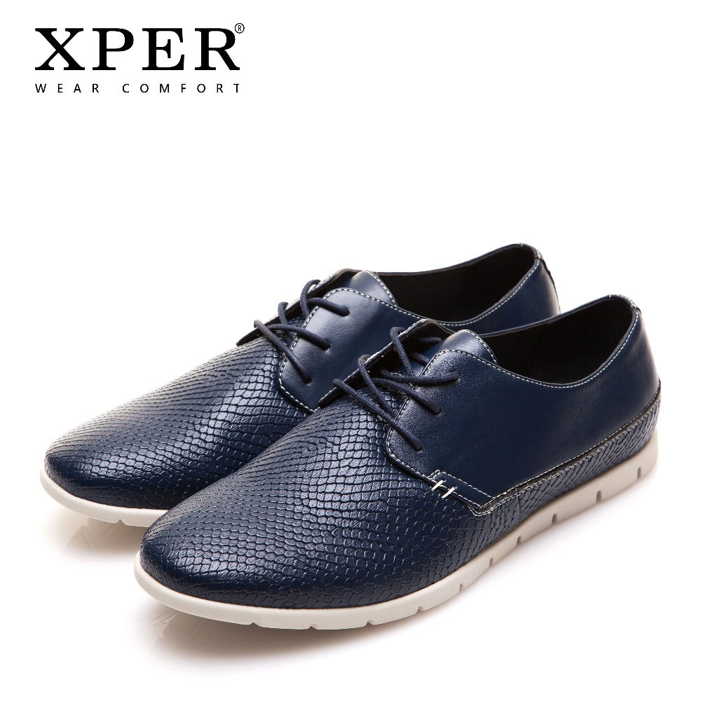 XPER Brand Fashion Men Casual Shoes Lace-Up Men Walking Shoes Men Footwear Business Shoes Soft Leather Shoes Gray Blue#YWD86055