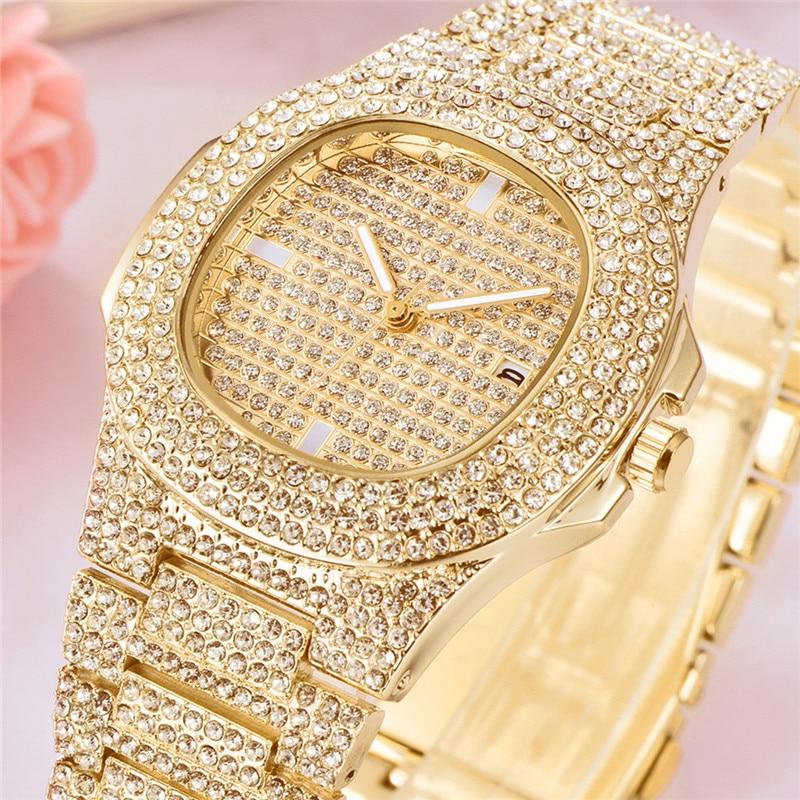 Fashion Luxury Diamond Gold Watch for men Brand Date Quartz Wristwatches Men's Calendar Clock Business Watches relojes hombre 21