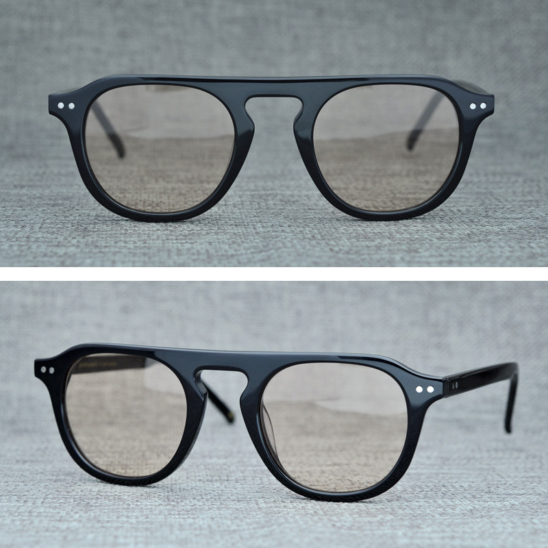 2019 Fashion Vintage Round Sunglasses Men Women Acetate Retro Sun Glasses for Men Brand Designer Flat Top Sunglass Male Oculos in Men 39 s Sunglasses from Apparel Accessories