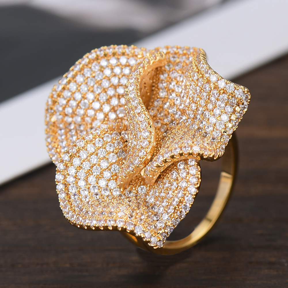 Image 3 - GODKI Luxury Big Flowers Statement Finger Rings for Women Wedding Cubic Zircon CZ African Bridal Dubai Chic Rings Jewelry 2019-in Wedding Bands from Jewelry & Accessories