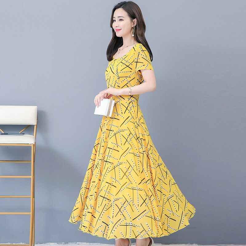 2019 летнее платье женские лето печатные шею Эластичный с коротким рукавом приталенное платье 3 цвета доступный размер M-4XL aa343