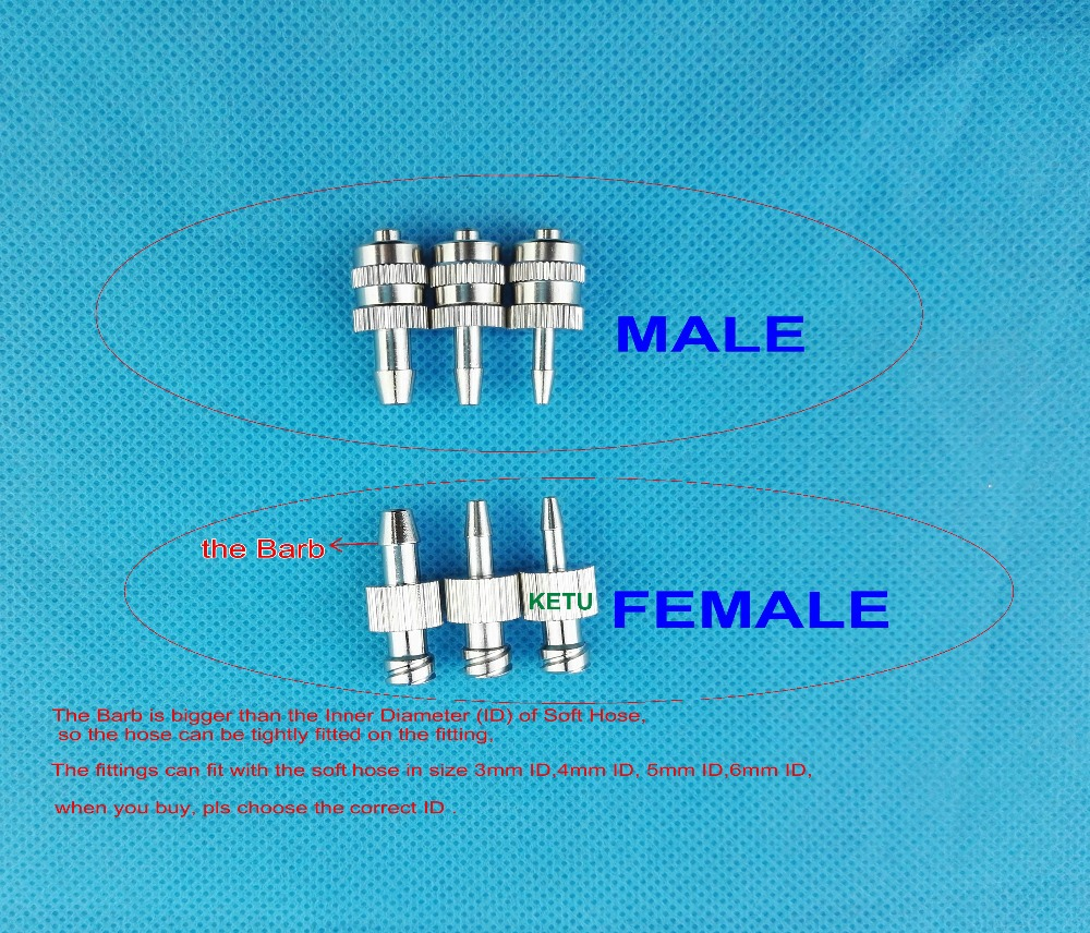 10pk Female Male Luer Syringe Fitting (metal) ,Luer Lock Fitting Connector