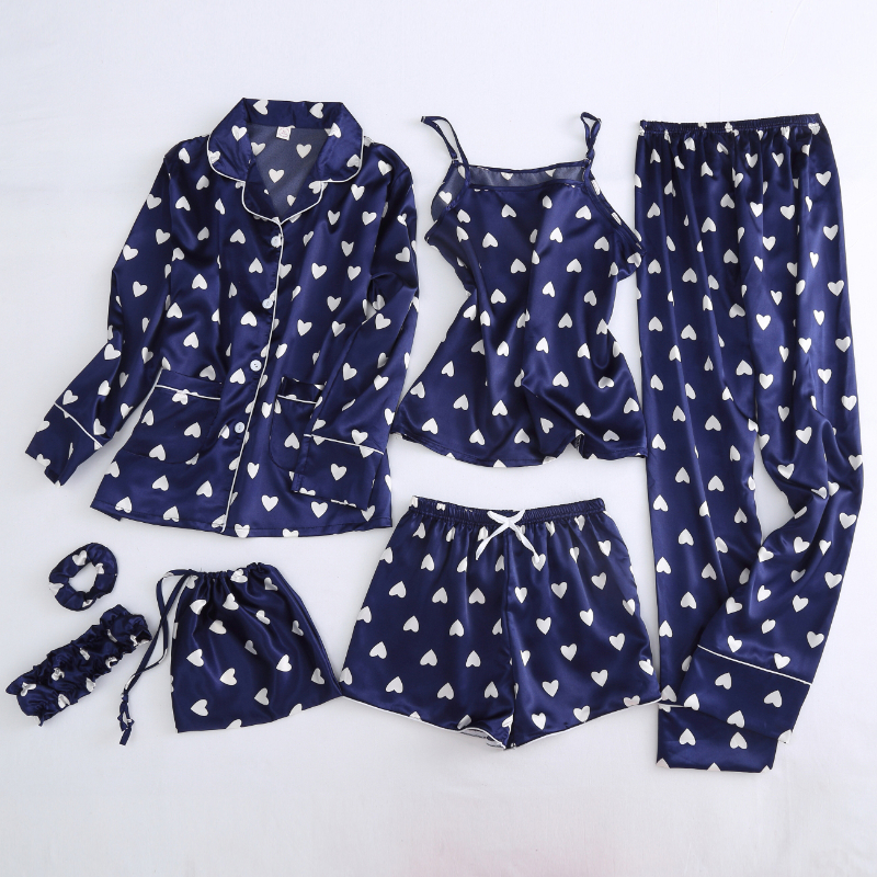 Autumn Spring 7 Pieces Set Silk Elegant Women Pajamas Print Shorts Long Sleeve Top Elastic Waist Pants Full Lounge Sleepwear