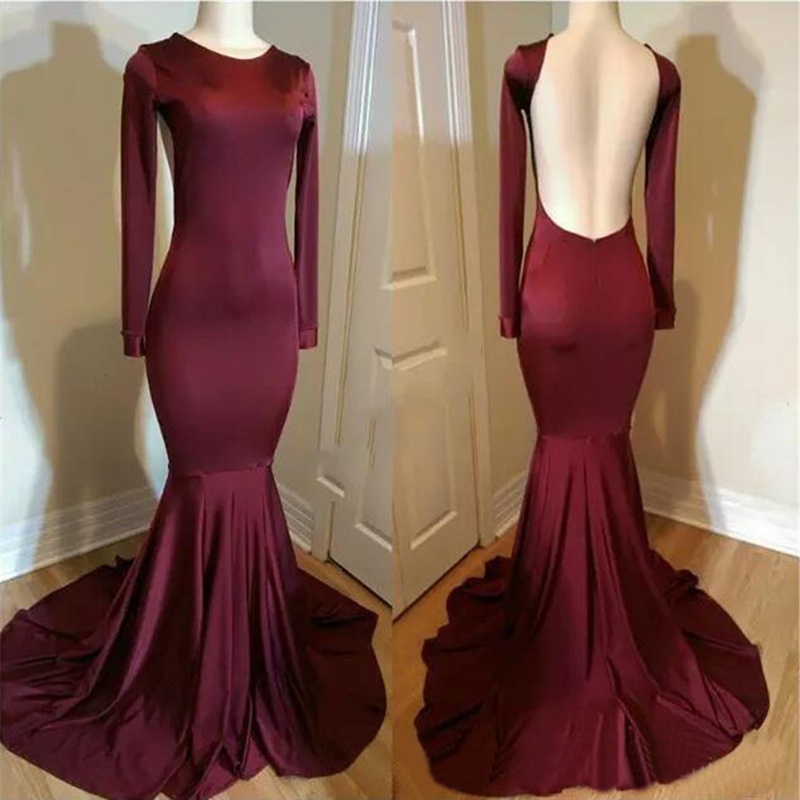 Simple Burgundy Elastic Satin Mermaid   Evening     Dress   2019 Backless Long Sleeve Sexy Prom Gowns Vestido De Festa Formatura Cheap