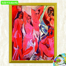"Picasso Famous Painting""Les Demoiselles D'Avignon""DIY Diamond Painting Full Square Diamond Embroidery Rhinestones Mosaic Picture(China)"