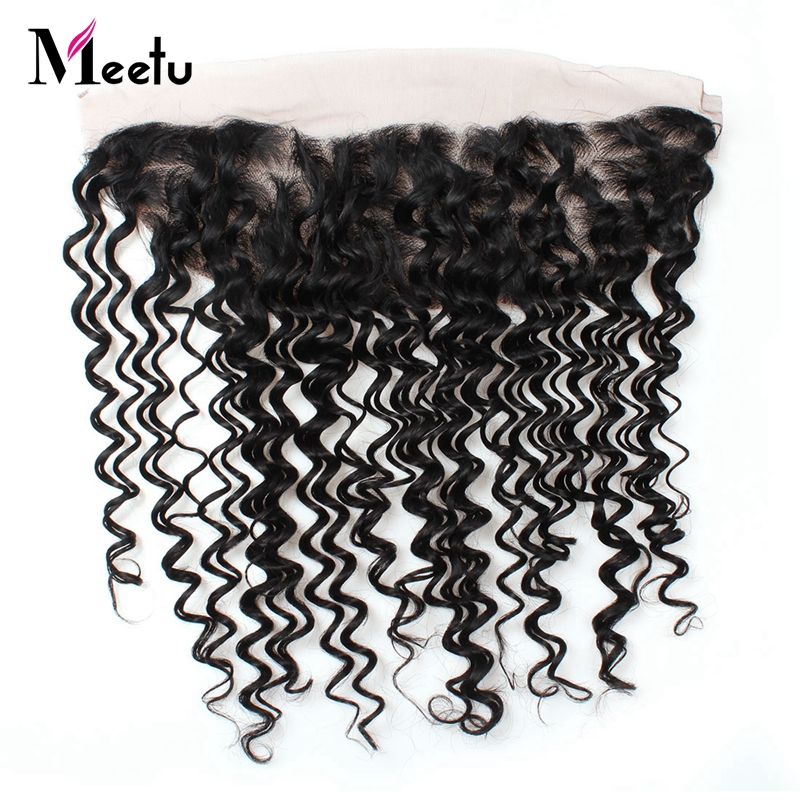 Meetu Malaysian Deep Wave Lace Frontal 13*4 Ear To Ear 100% Human Hair Closure Free Part Non Remy Hair Natural Black Frontal
