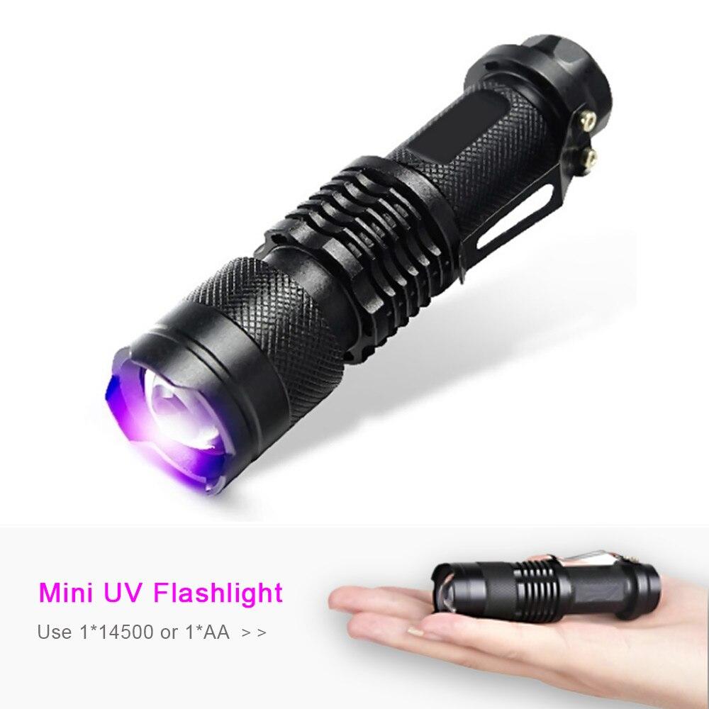Zoomable CREE LED SK68 395nm UV Flashlight Purple Violet ...