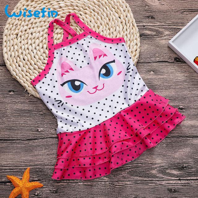 Wisefin Toddler Girl Swimsuits Polka Dots Beachwear Baby Swimwear One Piece Swimsuit Cat Girls Bathing Suit Kids Swimwear 2018