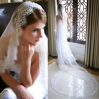 Top Quality Elegant 3 M Long Cheap White Ivory Wedding Veil Cathedral With Lace Edge Veu
