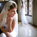 Top Quality Elegant 3 M Long Cheap White/Ivory Wedding Veil Cathedral With Lace Edge Veu De Noiva Longo Com Renda