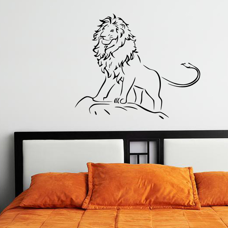 Hand Calligraphy Lion Wall Sticker Kids Room Babies Infant Room Wall