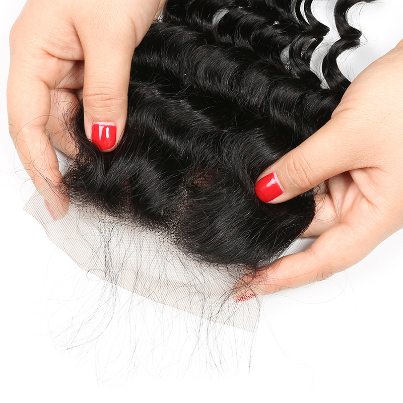 ALIPOP Peruvian Deep Wave Closure With Baby Hair Remy Hair 10 - 24 Inches Lace Human Hair 4x4 Closure Free Kim K Three Part (21)