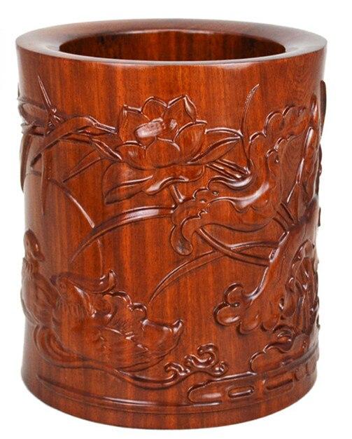 TNUKK Rot holzschnitzerei stift handwerk ornamente rosenholz Rosenholz Yuanyangxi wasser holz stift vier schätze - 3