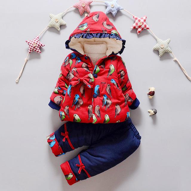 NUEVO Invierno del Bebé BABY Girl dot Gruesa capa Caliente + Pantalones de Invierno Cálido Prendas de abrigo de algodón Chaqueta de Ropa para niños conjuntos