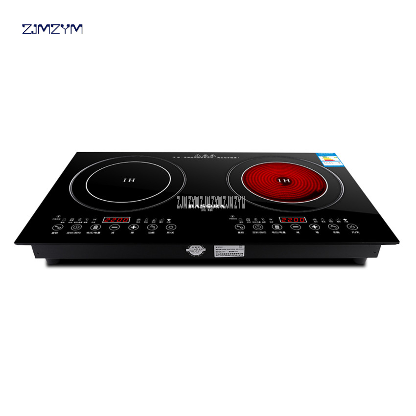 2200W electric induction cooker /cooktop/ stove /cookware/hob/ ceramic stove with 2 cookers Black Micro Crystal Panel YT-22 dmwd electric induction cooker waterproof high power button magnetic induction cooker intelligent hot pot stove 110v 220v eu us