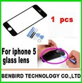 1pcs brand New white color LCD Front Screen Glass  + Free Tools + 3M sticker for Apple iPhone 5 5g, free shipping B1270-2
