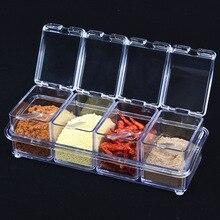 4 шт./компл. европейский вкус Набор банок для приправ кухонная, коробочка, приправ Scrylic специи коробка для хранения приправа Коробки