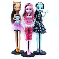 3pcs Set Dolls Monster Draculaura Clawdeen Wolf Frankie Stein Moveable Joint Body High Quality Girls Plastic