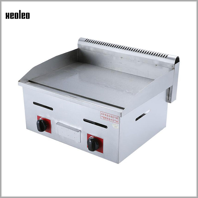 XEOLEO Counter Top LPG Gas Griddle Cooker Stainless Steel Flat Plate Grill Multifunction Griddle Fried Chicken Wings/Pork Chops