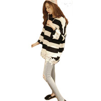 Striped Lace Blouses 2015 Explosion Models Small Fresh Wide Stripes Crochet Lace Stitching Long-sleeved Base Shirt Blusas BH395
