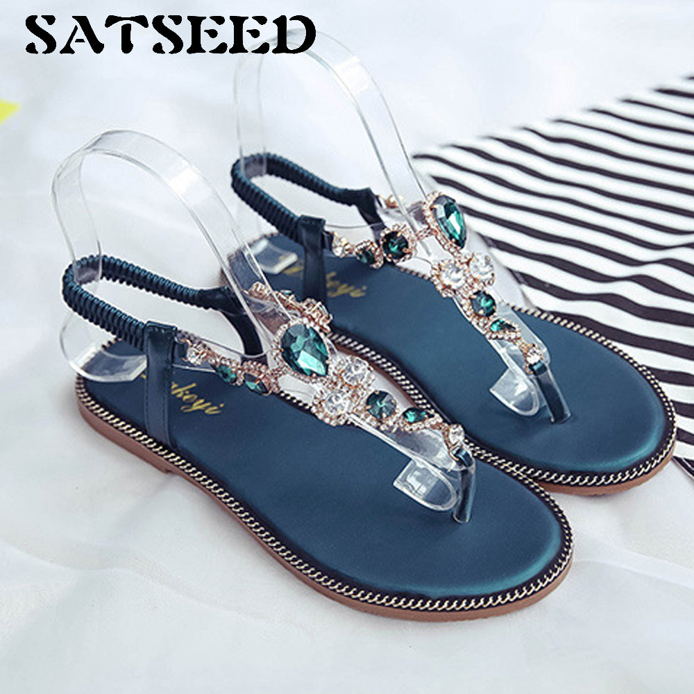 Women Sandals Summer Flat 2018 New Student Women Shoes Ankle Wrap Rubber Sole Fashion Crystal Slip on Beach Sandals Casual Black new casual women sandals shoes summer fashion slip on female sandals bohemian wild ladies flat shoes beach women footwear bt537