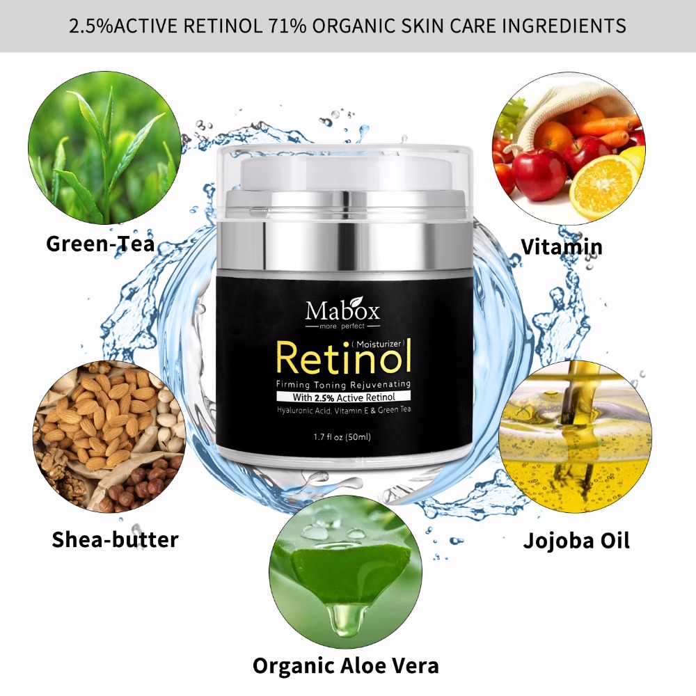 50Ml Mabox Retinol 2.5%moisturizer Face Cream Hyaluronic Acid Antiaging Remove Wrinkle Vitamin E Collagen Smooth Whitening Cream 6