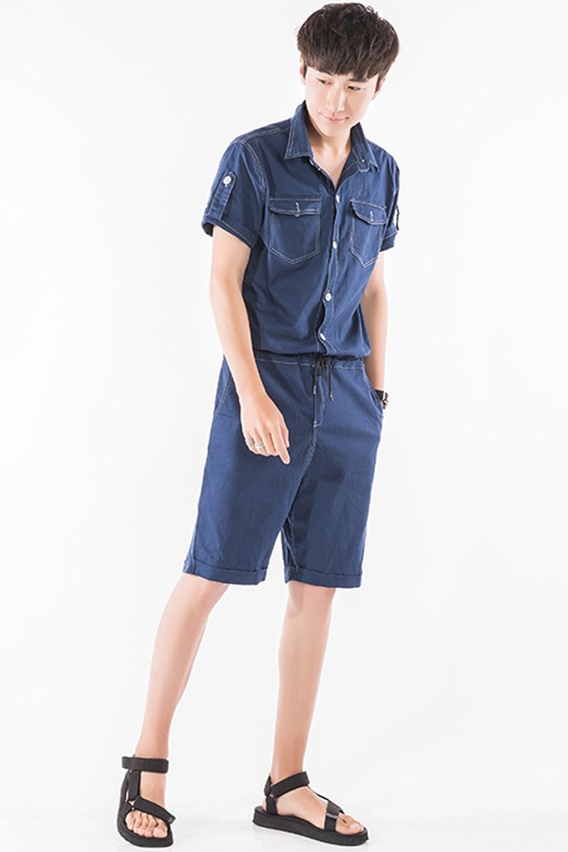 8a6ef1e07e4a White Blue 2 Colors Summer Men Linen Short Jumpsuits Short Sleeve Overalls  Male Street Fashion Casual Harem Shorts