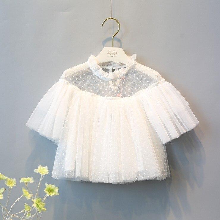 Fashion Girls Outfits Dog Short Sleeve Tops Shirt Dot Printed Kids Girl Summer Shirt Children Outfit Elegant Tops 100% Cotton
