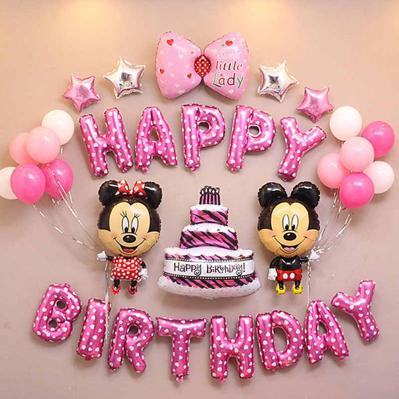 33psc/Lot Mickey Minnie Kue Balon Kombinasi Balon Ulang Tahun Balon Pesta Ulang Tahun Bayi Dekorasi Globos