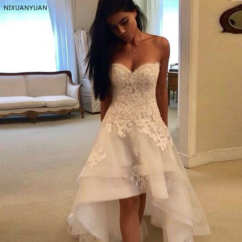 2019 Modest Beach Wedding Dresses Sweetheart Appliques High Low Country Wedding Dress Bridal Gown Robe Mariage