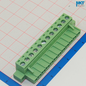 100Pcs 12P 5.08mm Pitch Right Angle Female PCB Electrical Screw Terminal Block With Screw Fixed Hole Flange