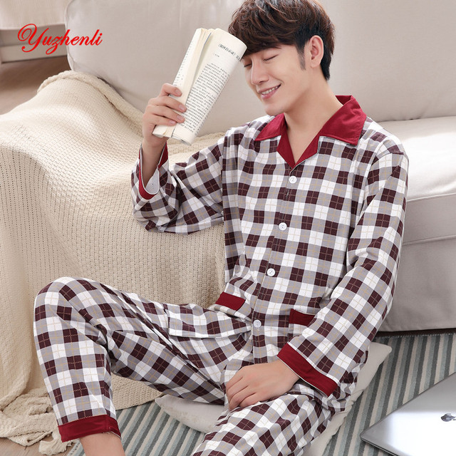 Yuzhenli Autumn Pyjamas Men Print Casual Plus Size Cotton Sleepwear