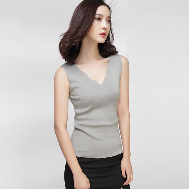 [XITAO] 2016 new summer pure color v-neck sleeveless female tops casual female thin slim tank tops female bottom knit top HH003
