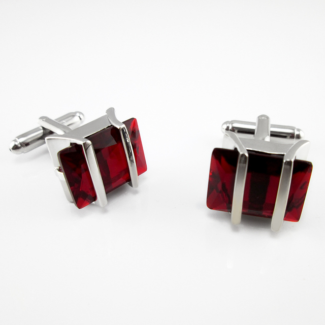 Men's Jewelry Mens Wedding Shirt Cufflinks In Silver Color Cuff Links Blue Red Crystal
