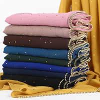 Perle mousseline de soie perceuse châles musulmans Pashmina bandeau Hijab Wrap longue tête écharpe pour dames solide Bandana femmes Foulard Femme
