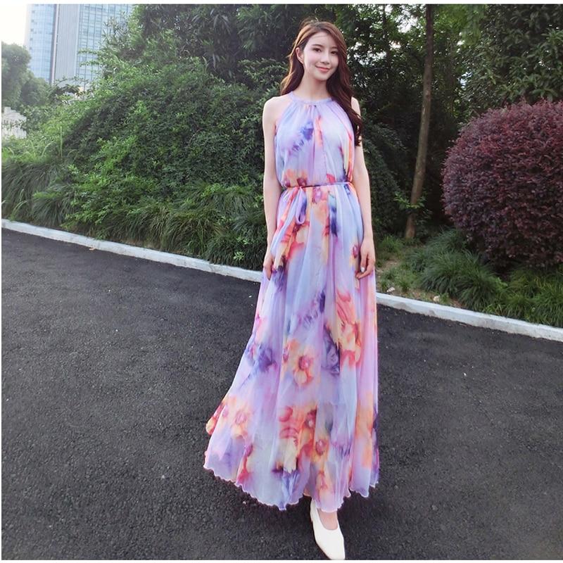 Lavender Sexy floral chiffon long Women beach summer maxi dress celebrity graduation Dinner Dress Beach Bridesmaid