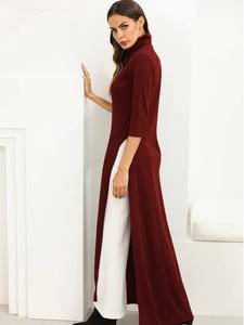 Image 4 - Women Dress Ao Dai Style Maxi Turtle Neck 3/4 Sleeve Loose Elegant Slit Casual Fashion Tunic