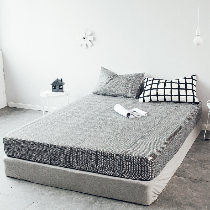 LAGMTA 1pcs 100%Cotton Black & White Fitted Sheet Mattress Cover Four Corners With Elast ...