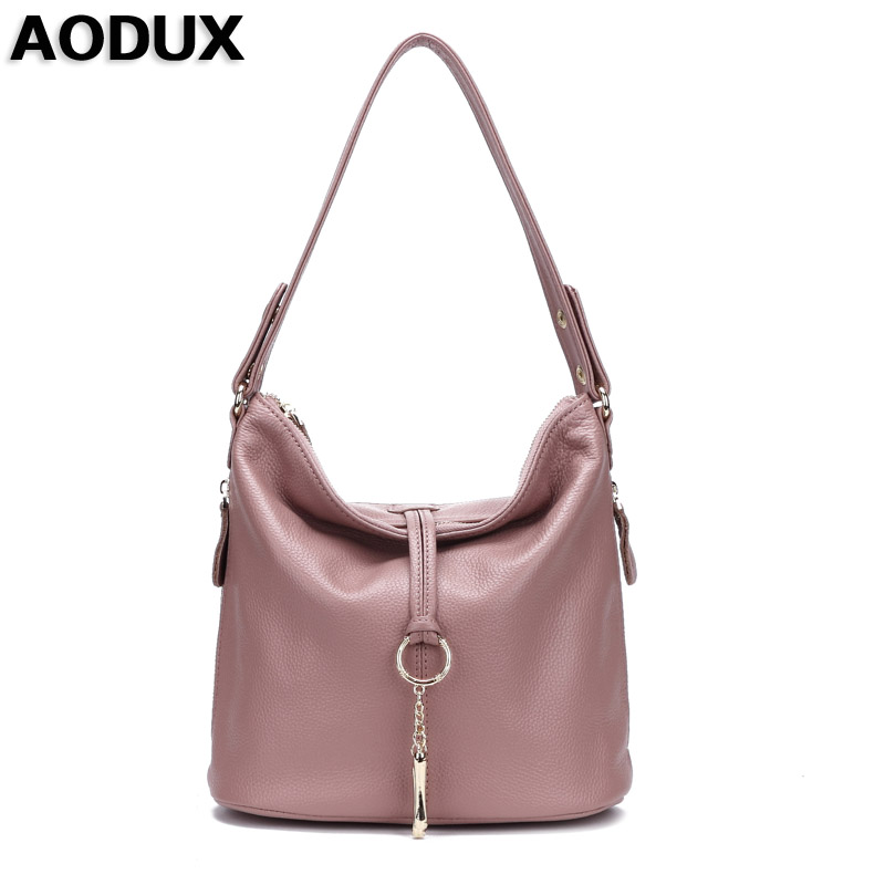 AODUX 2019 New Pink White Fashion Designer 100% Genuine Leather Women Small Shoulder Bag Tote Handbag Ladies Messenger Bag Purse-in Shoulder Bags from Luggage & Bags    1