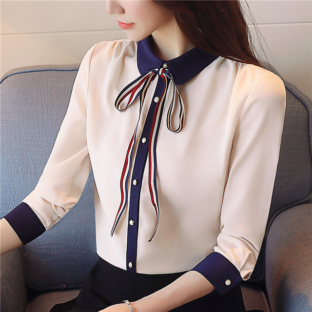 2018 new spring women blouses bow long sleeved blouses chiffon women clothing patchwork OL women tops sweet shirts 912A3