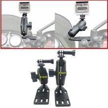 Freio da motocicleta/embreagem reservatório capa montagem & double socket arm + para gopro montar bola base de cabeça para montagem ram garmin sjcam