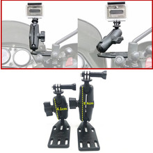 Support de couvercle de réservoir de frein/embrayage de moto et Double bras de prise + pour Base de rotule de montage Gopro pour support de Ram garmin Sjcam