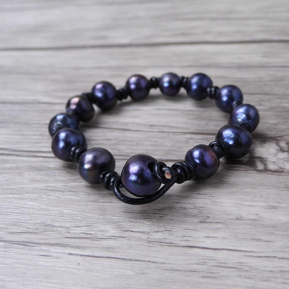 balck pearl beads ձեռնաշղթա Կաշի Boho փաթաթել - Նորաձև զարդեր - Լուսանկար 3
