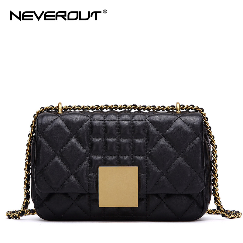 NEVEROUT Women Messenger Bags Soft Real Leather Luxury Chain Bag Solid Fashion Mini Sheepskin Crossbody Designer
